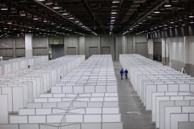 Trung tâm hội nghị ở Detroit, Michigan (Mỹ) cũng được trưng dụng làm bệnh viện