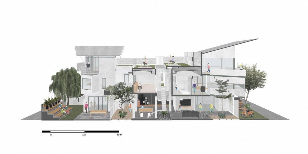 Ngôi nhà hiện tại là một ngôi nhà đa năng kết hợp nhiều chức năng sinh sống, làm việc và không gian thư giãn