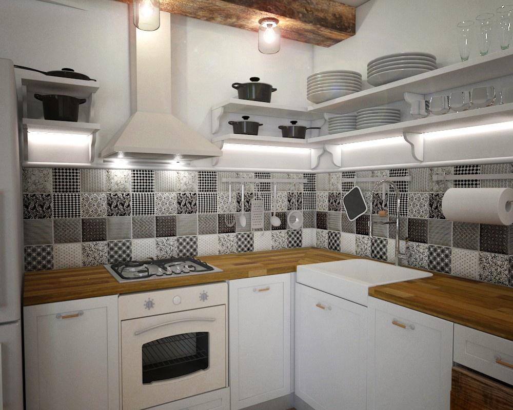Sự kết hợp giữa bố trí nội thất đơn giản, nhẹ nhàng với tường ốp đá hoa, sàn gạch ca rô hoặc họa tiết cổ điển lặp lại liên tục cũng tạo nên điểm nhấn vintage khác biệt cho căn bếp. Ảnh: Nikoleta Vidinova.