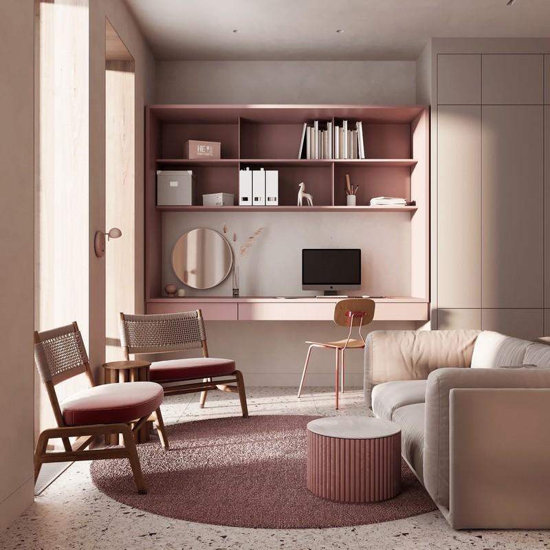 Màu hồng của giá sách, thảm trải sàn và ghế ngồi….tạo nên sự mới lạ cho phòng khách