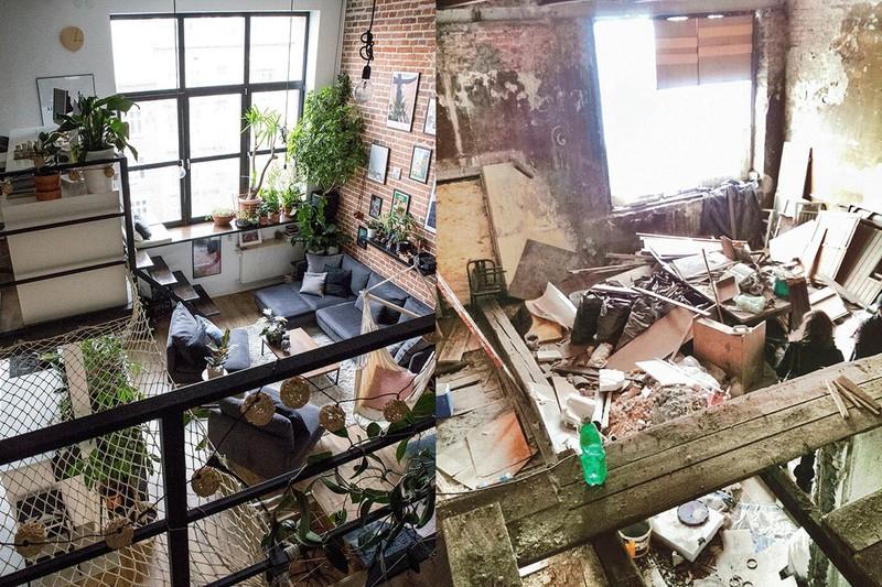Căn hộ cũ xuống cấp với các mảng tường bong tróc, ẩm thấp và hình ảnh sau khi cải tạo