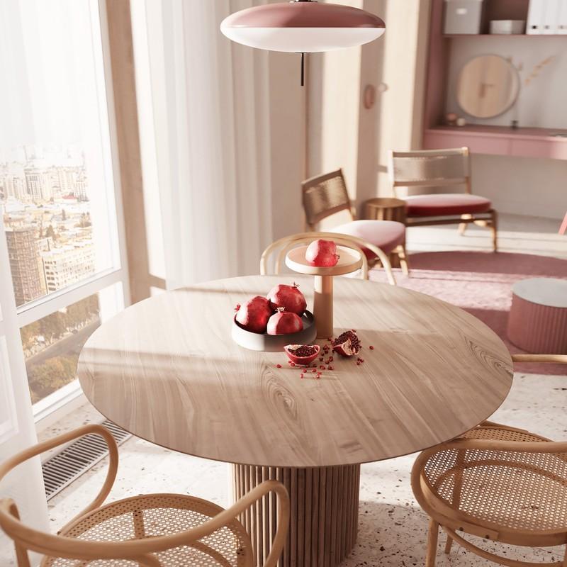 Đèn mặt dây chuyền màu hồng, bổ sung nguồn sáng cũng như yếu tố thẩm mỹ cho căn phòng