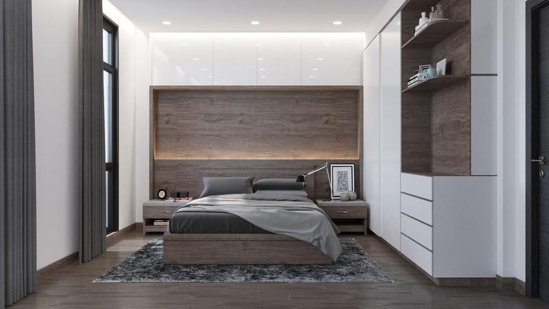 Phòng ngủ bố mẹ sử dụng tủ quần áo âm tường nên vẫn thấy rộng rãi.