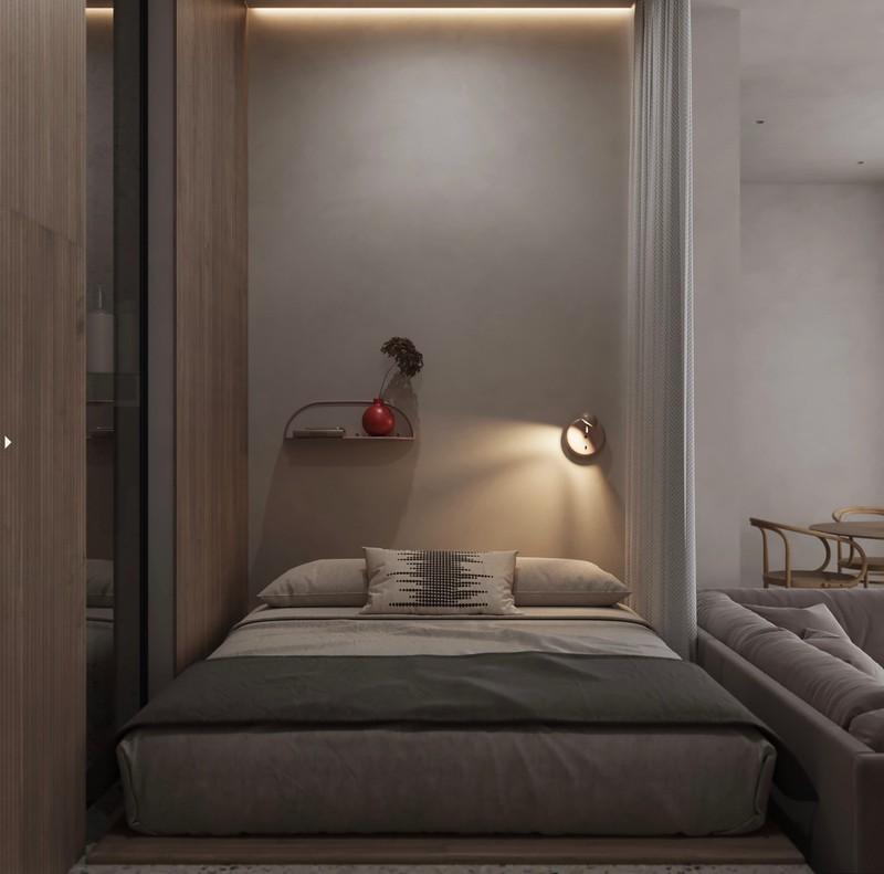 Vì có diện tích nhỏ nên chủ nhà chỉ sử dụng một chiếc đèn cùng kệ nhỏ để trang trí cho căn phòng