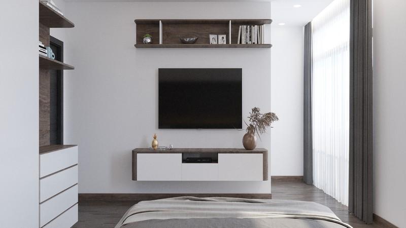 Giá sách, tivi và kệ gắn vào tường tiết kiệm diện tích.
