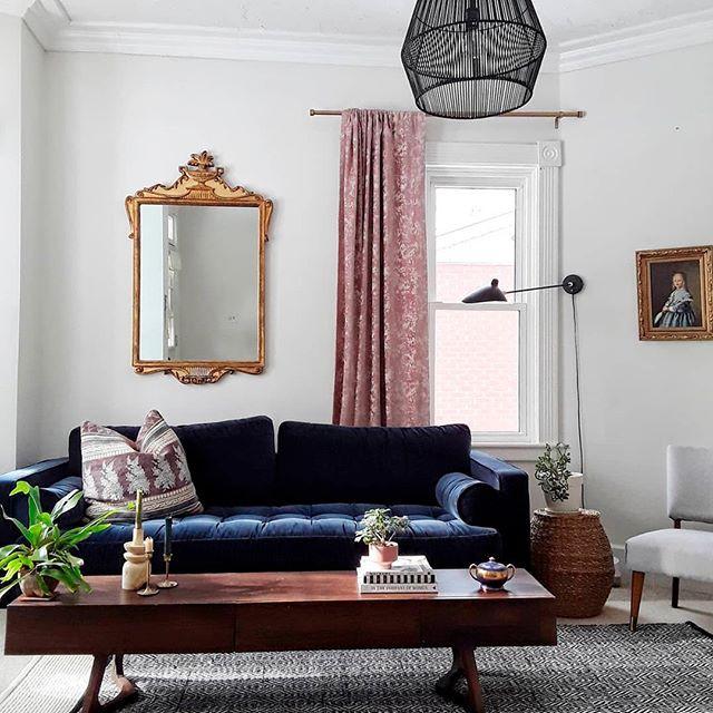 Sofa nhung màu xanh tím với phần gối cuộn hình tròn, có thể dựa lưng hoặc gối đầu