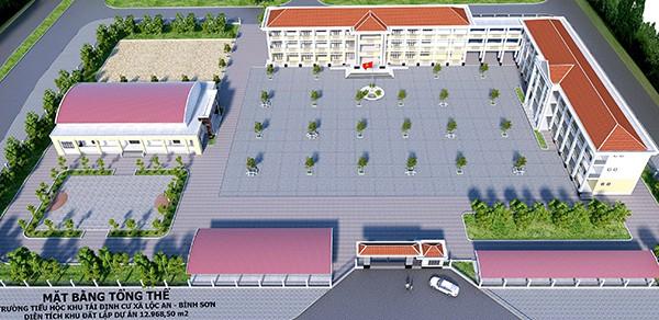 Phối cảnh trường học trong khu tái định cư Lộc An - Bình Sơn