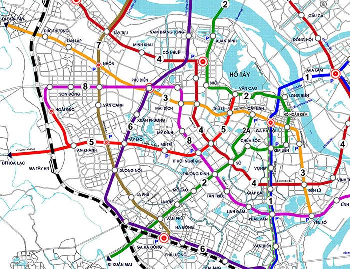 Mạng lưới  ĐSĐT Hà Nội 2030 dày như mạng nhện, trích đoạn phần có tuyến số 3 và tuyến số 5