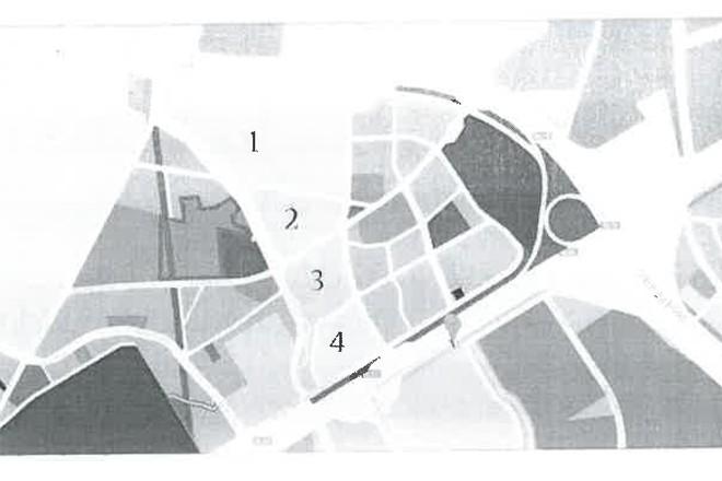 Bản đồ quy hoạch khu Ling Trung - 1: Đại học Nông Lâm TP.HCM; 2: Khu xử lý bùn; 3: Bãi xe tang vật và công viên cây xanh; 4: Đất dân cư xây dựng cao tầng