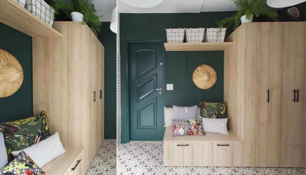 Hệ tủ kết hợp với góc ngồi thư giãn kèm lưu trữ đồ. Không gian nhỏ thêm ấn tượng nhờ cách thiết kế linh hoạt và tận dụng diện tích thông minh.