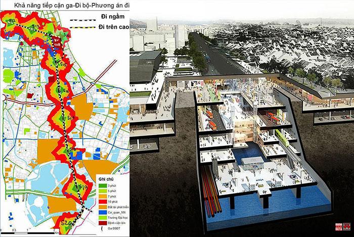 Đề xuất hướng tuyến ĐSĐT số 3.2 : giảm 6Km tunel ngầm  bằng đi trên cao để  giảm 50% chi phí  xây lắp .  Đoạn  đi ngầm cần tích hợp  đa chức năng để chia sẻ chi phí đầu tư, giải phóng mặt đất cho công cộng và bảo tồn khu phố lịch sử. Nguồn: City Solution