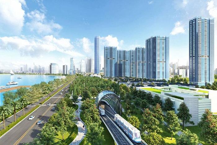 """Hình ảnh ga đường sắt lộng lẫy đi qua khu đô thị lung linh đăng trên trang web quảng cáo bất động sản""""sangiaodichvinhomes""""."""