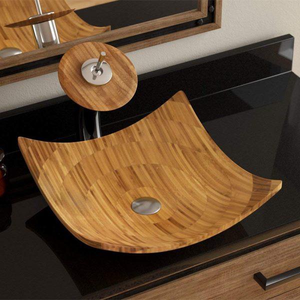 Bồn rửa phong cách, làm từ đá giả gỗ