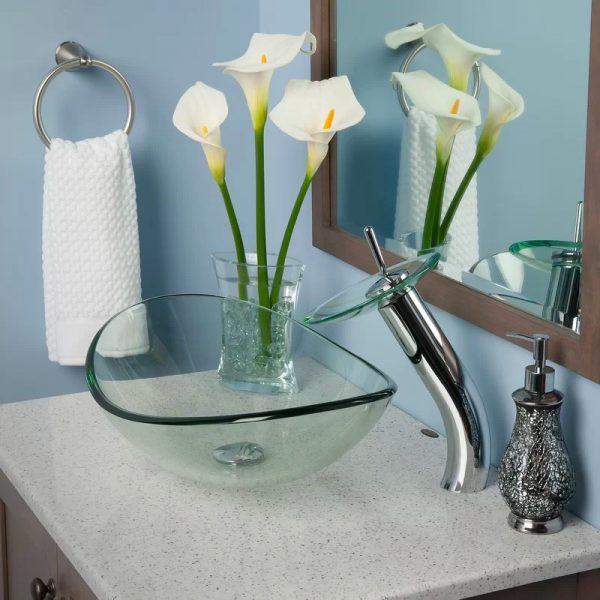 Bồn rửa bằng thủy tinh trong suốt, dễ dàng làm sạch