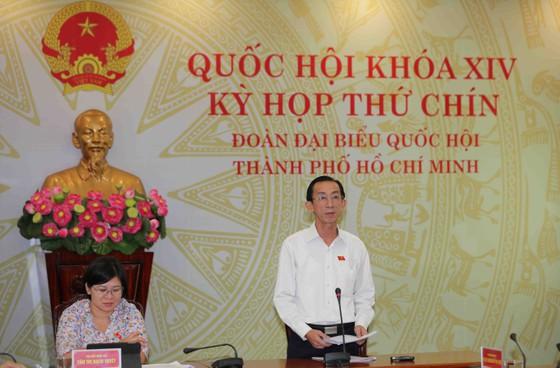 ĐB Trần Hoàng Ngân phát biểu tại điểm cầu Đoàn ĐBQH TPHCM. Ảnh: DŨNG PHƯƠNG
