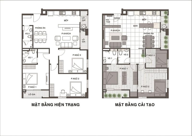 ới mặt bằng hiện trạng, KTS bắt đầu phân chia lại các không gian của căn hộ sao cho rộng rãi và có tính liên kết hơn