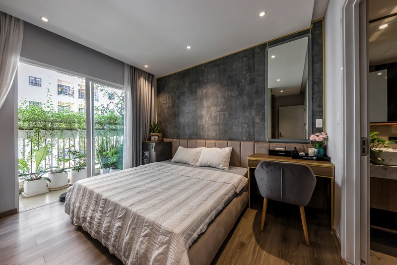 Phòng ngủ của bố mẹ và hai con được thiết kế liên thông với nhau