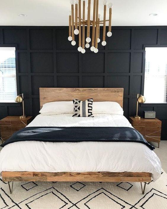 Mẫu tường hình học màu đen trong phòng ngủ trông thật táo bạo và ấn tượng