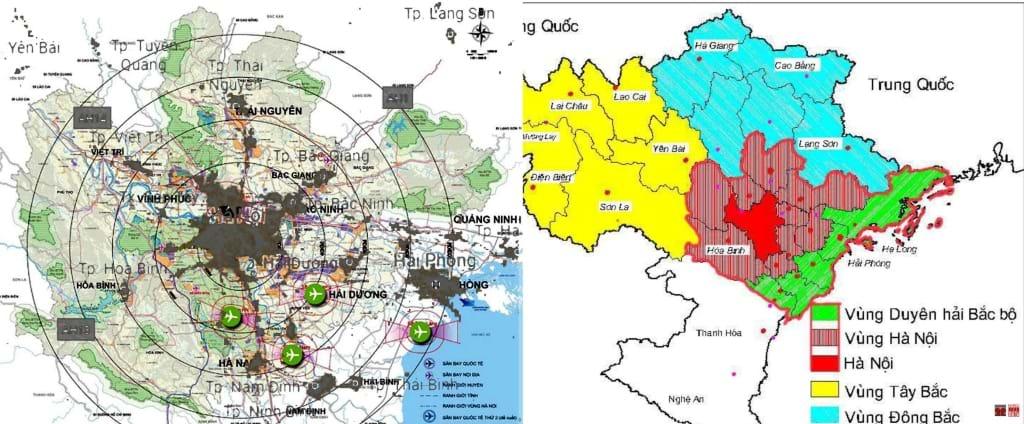 Từ 2013 đến 2020, Vùng Thủ đô từ 6 tỉnh tăng lên 10 tỉnh và đưa về vùng đồng bằng Sông Hồng 15 tỉnh... cho thấy phân vùng thế nào cũng được. Quy hoạch vùng Thủ đô (2016 ) chồng lớp bản đồ vệ tinh ban đêm (Nigth Eartht) tháng 7.2020 cho thấy các đô thị phát triển vẫn bám theo các tuyến giao thông, không theo sơ đồ (ảnh bên trái). Quy hoạch vùng Thủ đô đề xuất 4 sân bay cách nhau 20-30km (ảnh bên phải). Nguồn ảnh minh họa: Hanoidata & Citysolution