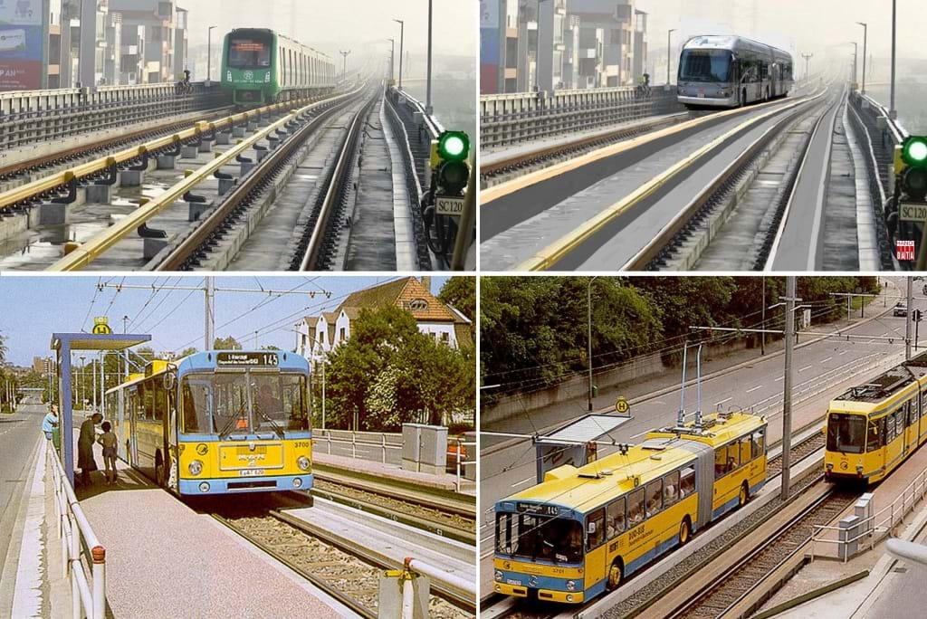"""Đề xuất tuyến Cát Linh - Hà Đông triển khai  phương tiện """"xe bus hai chế độ"""" - loại hình đã được Đức khởi động  từ 1970. Ảnh minh họa do Hanoidata& CitySolution cung cấp."""