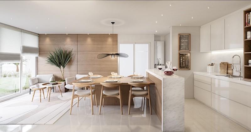 Một phòng ăn đạt được sự cân bằng giữa phong cách Đan Mạch sang trọng với tông màu gỗ tự nhiên
