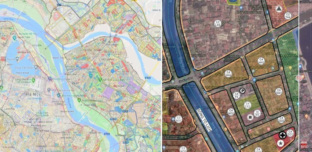 """Trong khi ngành TN-MT đang rất lúng túng thì tư nhân đã đầu tư số hóa/ đồng bộ hồ sơ quy hoạch sử dụng đất tích hợp với các nội dung khác đặt trên nền bản đồ vệ tinh, cung cấp miễn phí tại """"quyhoach.hanoi.vn """"bởi VietPalm. Ví dụ bản đồ tổng thể Hà Nội và phóng to chi tiết một lô đất. Ảnh: TL"""