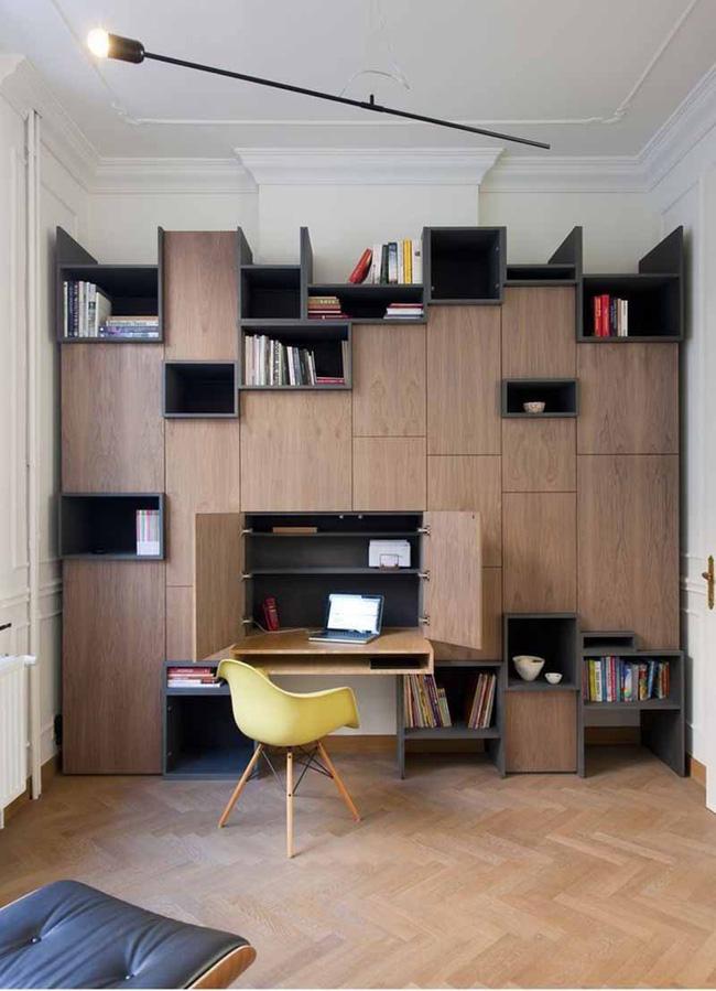 Xu hướng hình học được vận dụng một cách khéo léo để mang đến một góc làm việc tại nhà đầy sáng tạo như thế này