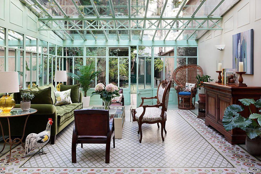Không gian gần gũi với thiên nhiên nhờ màu xanh của nội thất