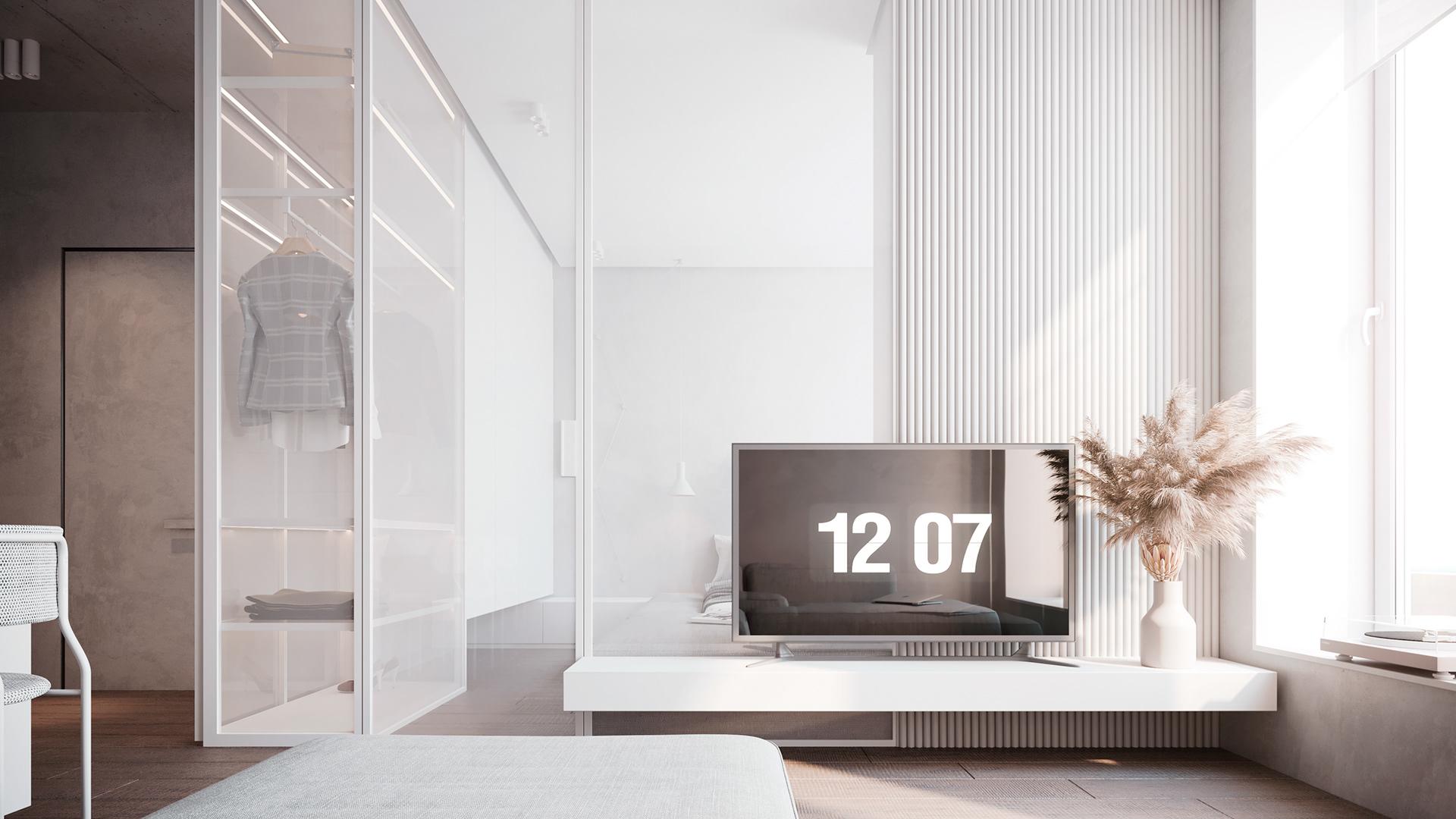 Việc sử dụng tông màu trắng giúp không gian phòng khách trở nên rộng hơn
