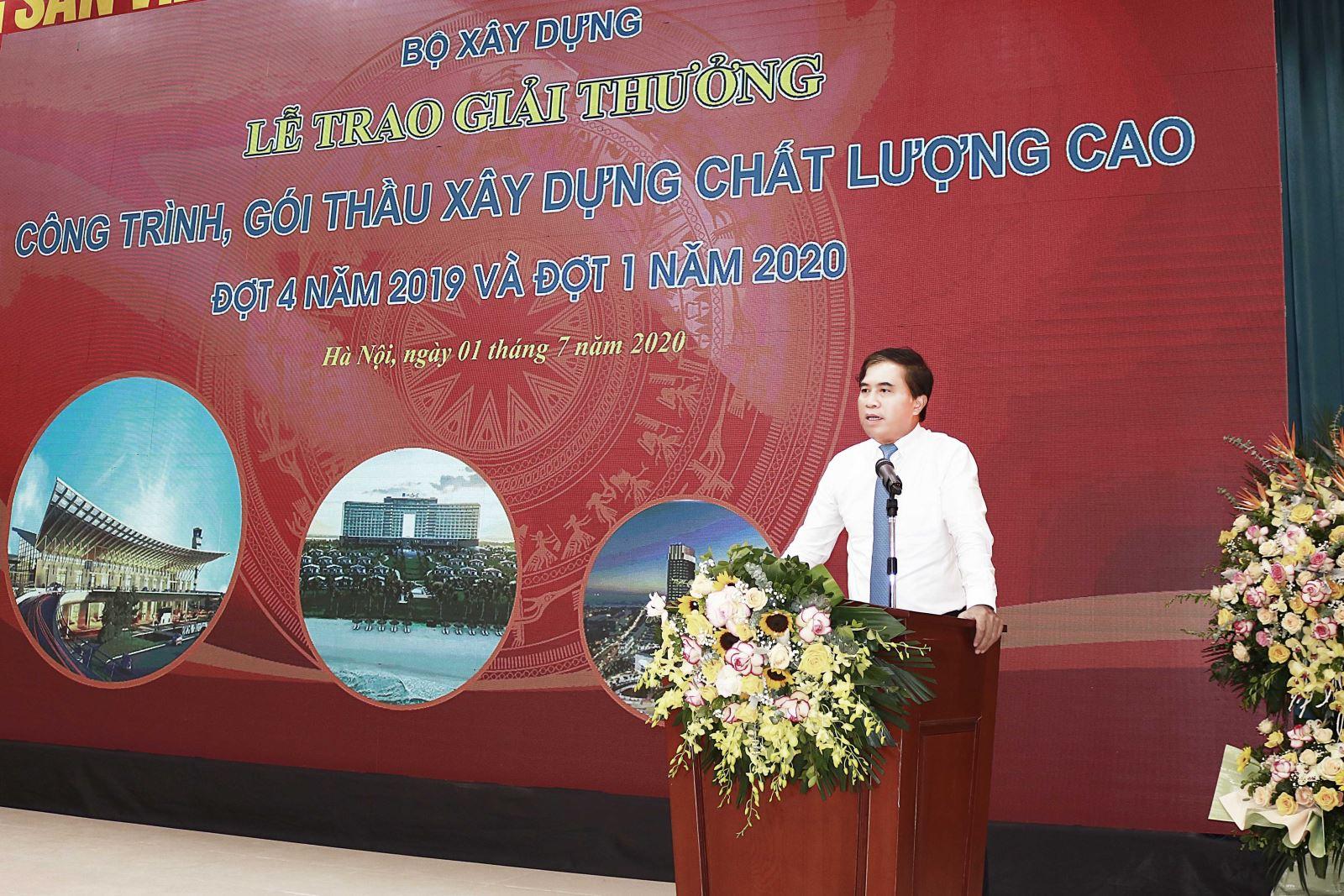 Thứ trưởng Bộ Xây dựng Lê Quang Hùng phát biểu tại buổi lễ