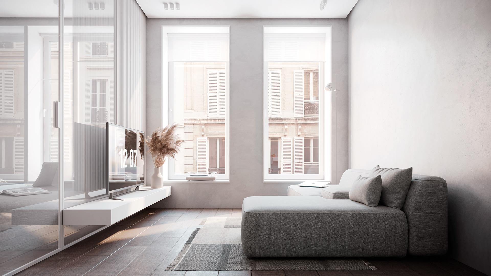 Sofa màu ghi xám là điểm nhấn cho căn phòng