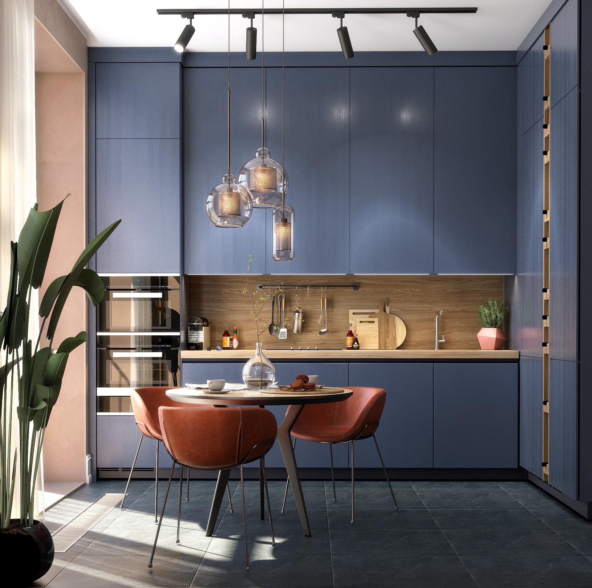Tủ bếp nổi bật với tông màu xanh navy