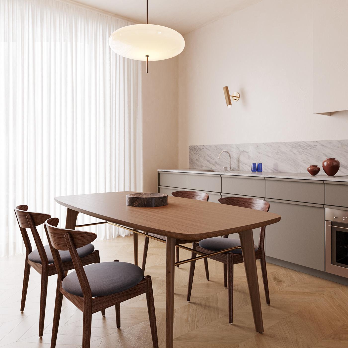Bộ bàn ăn gỗ sồi vô cùng dễ chịu, cẩn thận lót thêm đệm ngồi để êm hơn, còn có thể thoải mái ngồi vào mùa đông