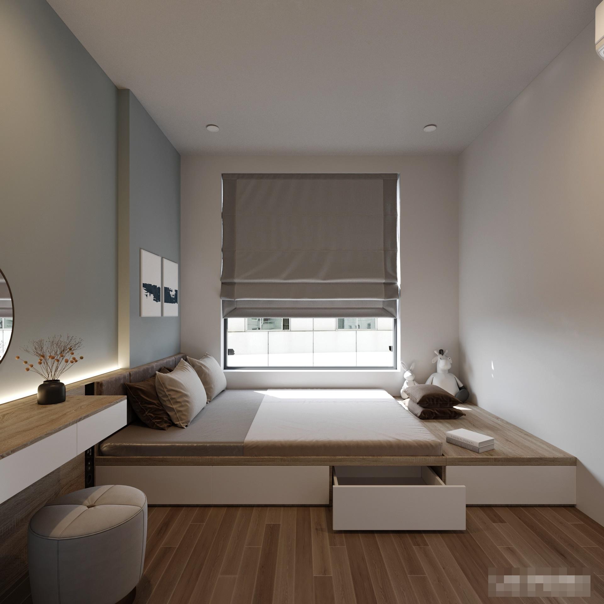 Giường ngủ kết hợp ngăn kéo bên dưới giúp tận dụng tối đa diện tích căn phòng