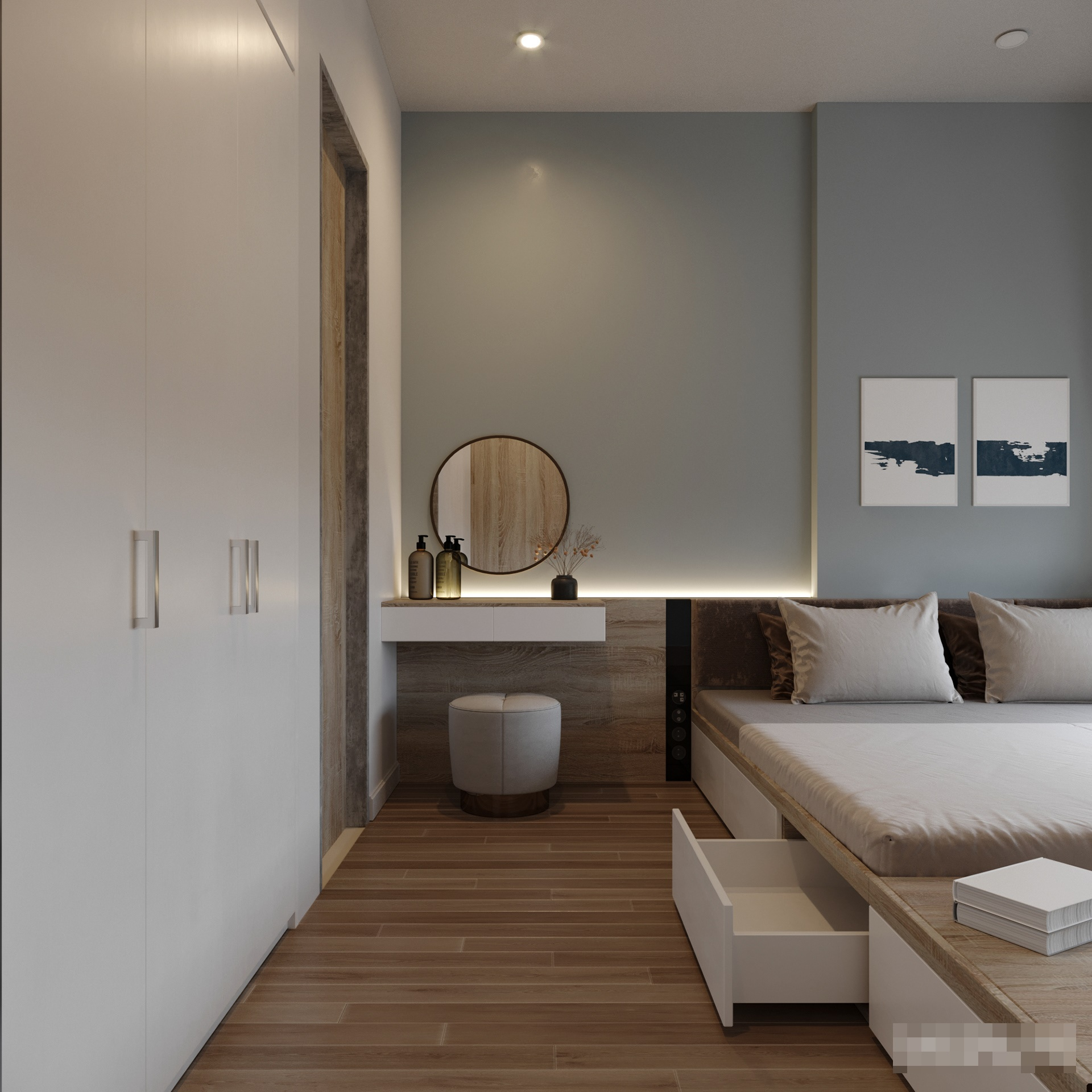 Vách đầu giường sử dụng đèn hắt tạo cảm giác vô cùng ấn tượng