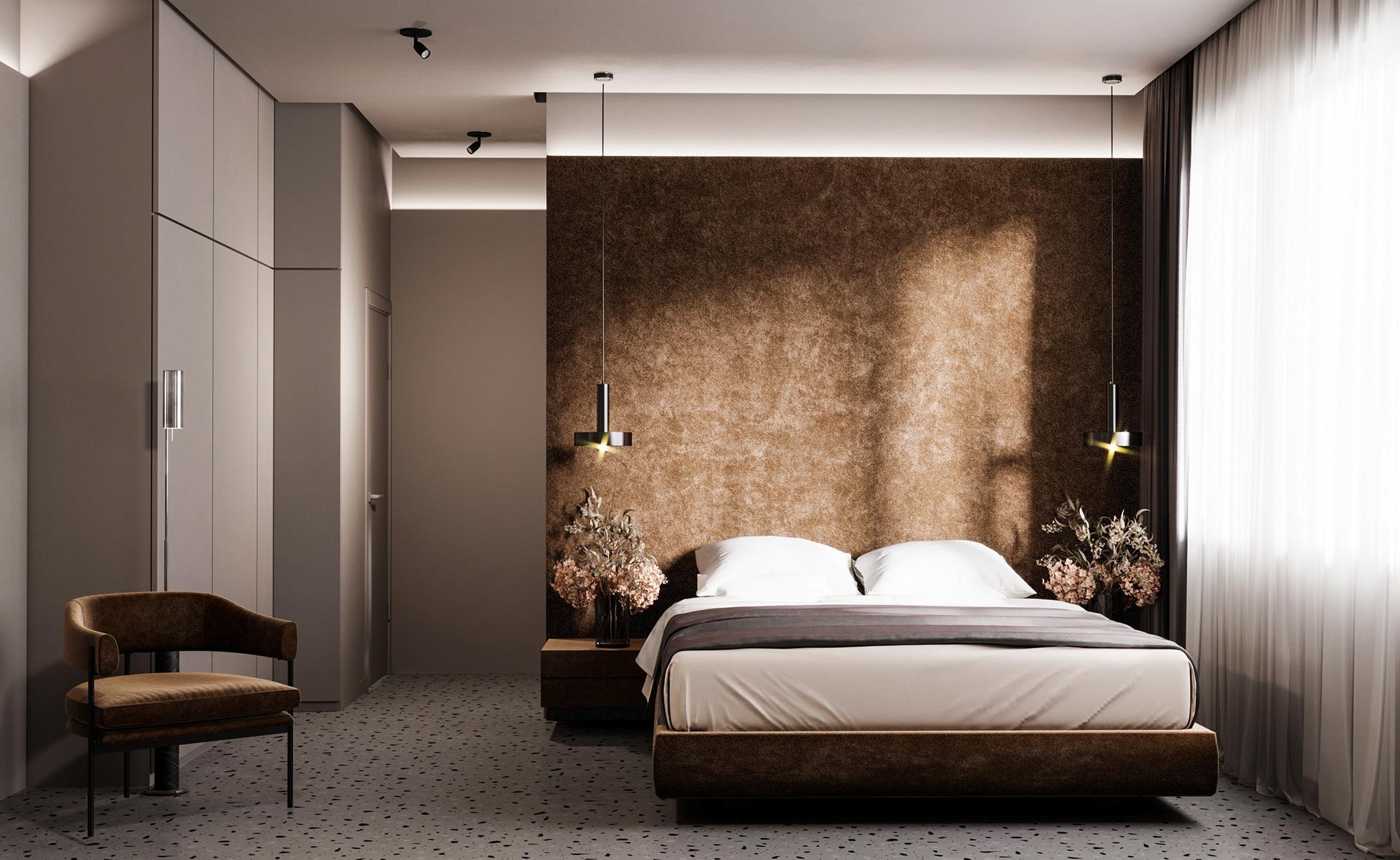 Căn phòng với tông màu trầm, đón ánh sáng tự nhiên dịu nhẹ