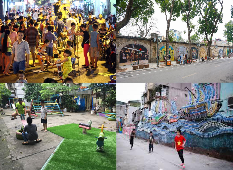 Bốn sân chơi: (1) Sân chơi trên phố cổ; (2) Sân chơi bên Dự án Nghệ thuật Phùng Hưng; (3) Sân chơi cộng đồng dân cư phường Chương Dương; (4) sân chơi bên dự án Nghệ thuật Phúc Tân