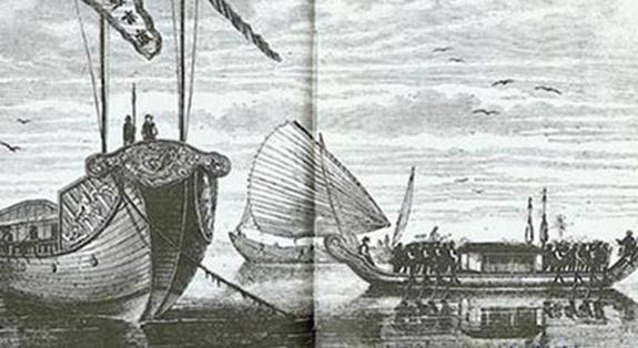 Thuyền chiến, thuyền buồm, thuyền chỉ huy thời vua Minh Mạng triều Nguyễn. Ảnh tư liệu minh hoạ