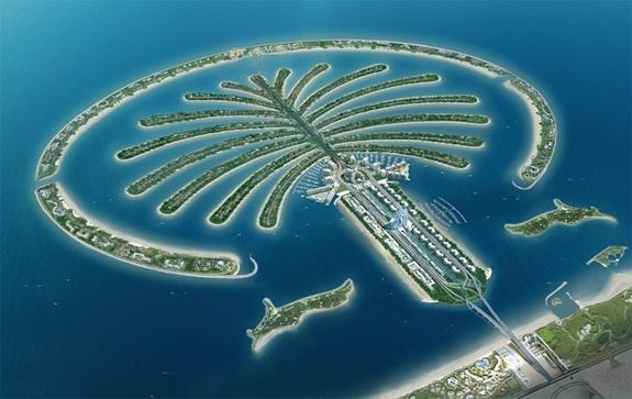 Khu tổ hợp Palm Jumeirah nhìn từ trên cao như một cây cọ vươn ra biển. Ảnh: Gulf News.