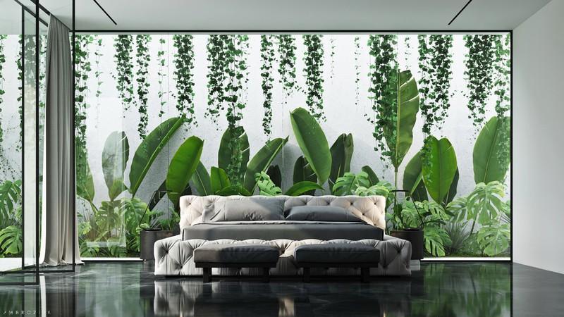 Thực vật bên ngoài làm nền cho phòng ngủ, giống như một bức tranh tường sống động