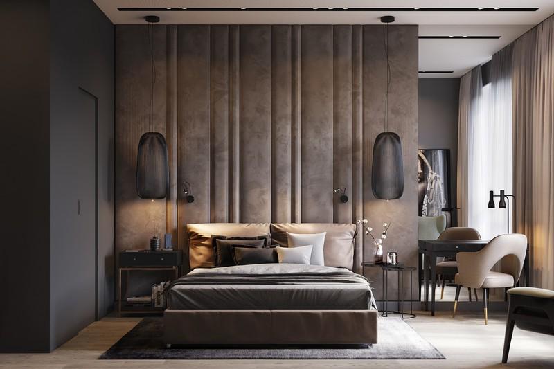 Bức tường bằng vải đệm là sự tiếp nối liền mạch với các loại ga trải giường và gối bên dưới