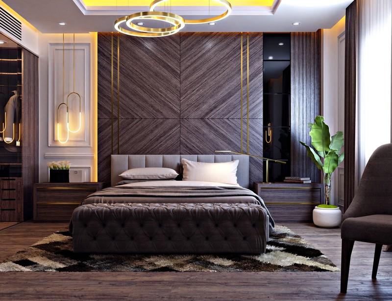 Giường bọc đệm màu nâu phù hợp với màu sắc của gỗ trang trí