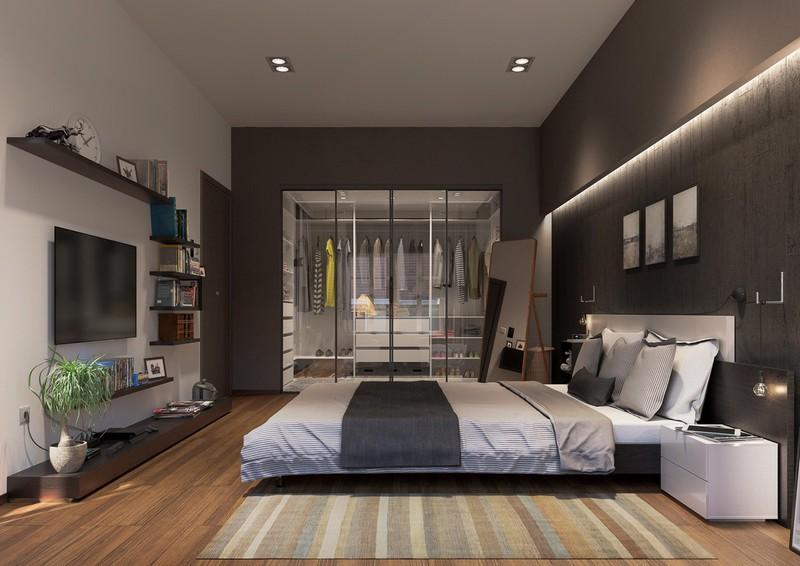 Các tín đồ thời trang sẽ yêu thích cách bố trí phòng ngủ này bởi nó có không gian rộng rãi cho việc trưng bày