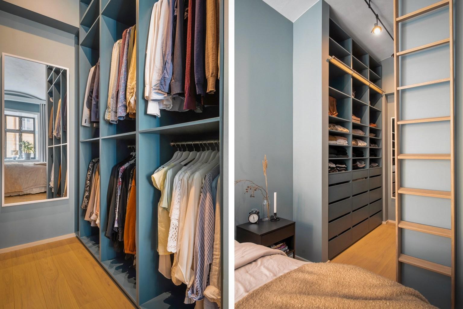 Góc thay đồ được thiết kế khéo léo để tăng thêm tiện ích tuyệt vời cho căn phòng nhỏ