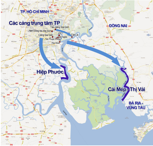 Bản đồ Khu cảng Cái Mép - Thị vải Vũng tàu