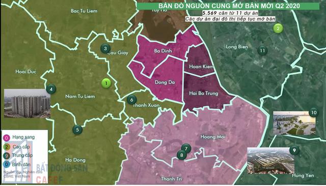 Các căn mở bán mới tập trung nhiều ở các quận Long Biên, Gia Lâm, Nam Từ Liêm, Hoài Đức. Đây là những khu vực có các đại đô thị lớn đang được cấp tập triển khai.