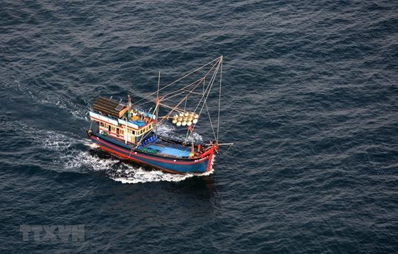 Tàu đánh bắt hải sản trên vùng biển Phú Quốc, tỉnh Kiên Giang. Ảnh: TTXVN