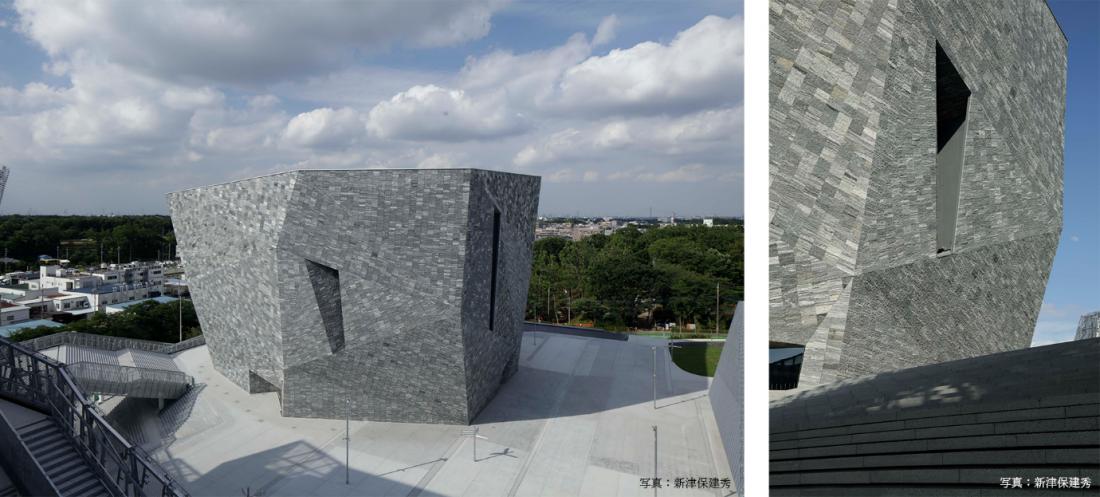 Bức tường mặt ngoài của bảo tàng Kadokawa Musashino được ốp khoảng 20.000 miếng đá granite nặng từ 50kg đến 70kg (tổng khối lượng là 1.200 tấn). Đá được cắt ra từ các ngọn núi ở tỉnh Sơn Đông, Trung Quốc, rồi vận chuyển đến Nhật Bản bằng tàu thủy.