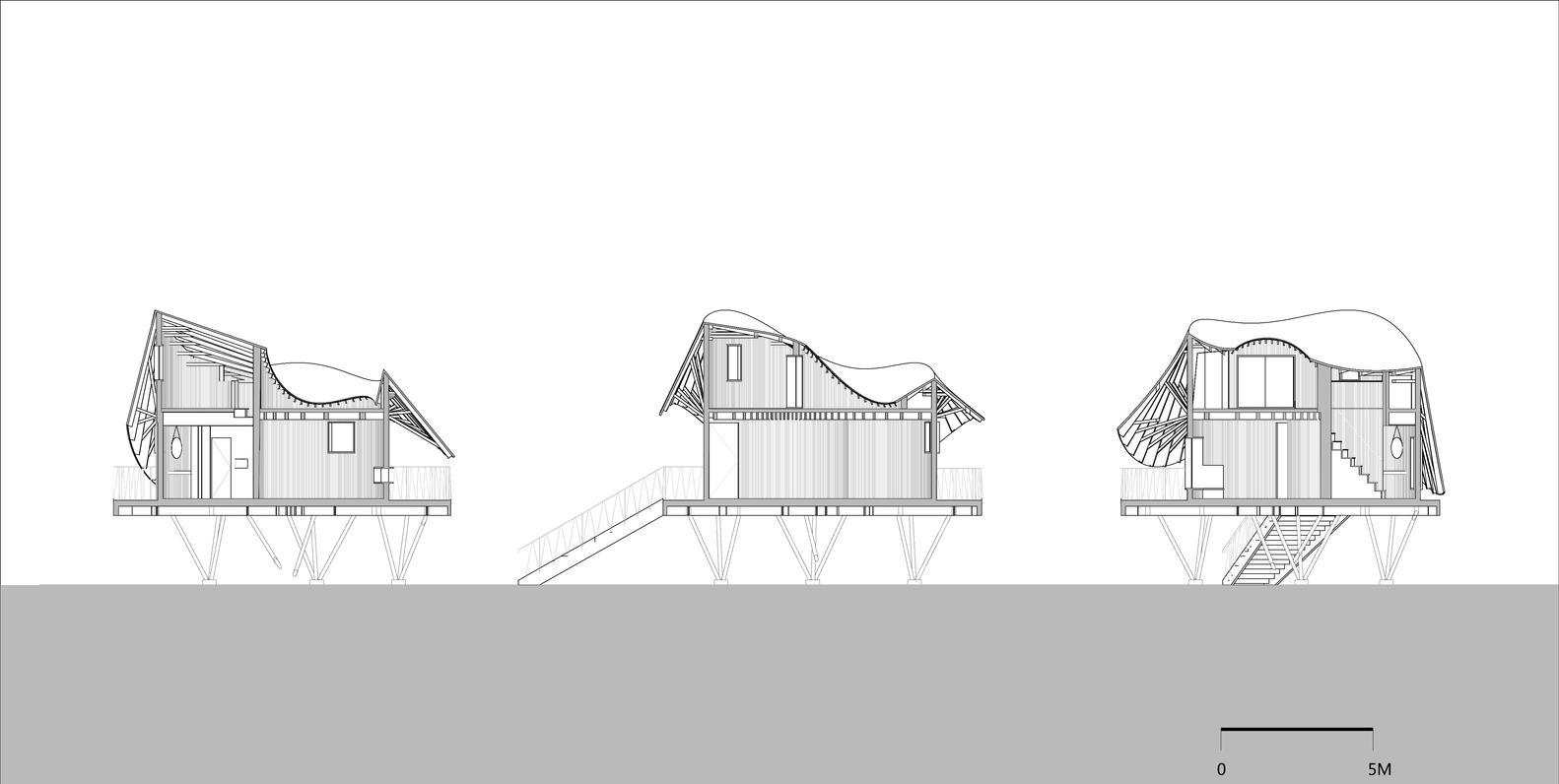 """Phối cảnh mặt cắt các góc ngôi nhà """"trên cây""""."""
