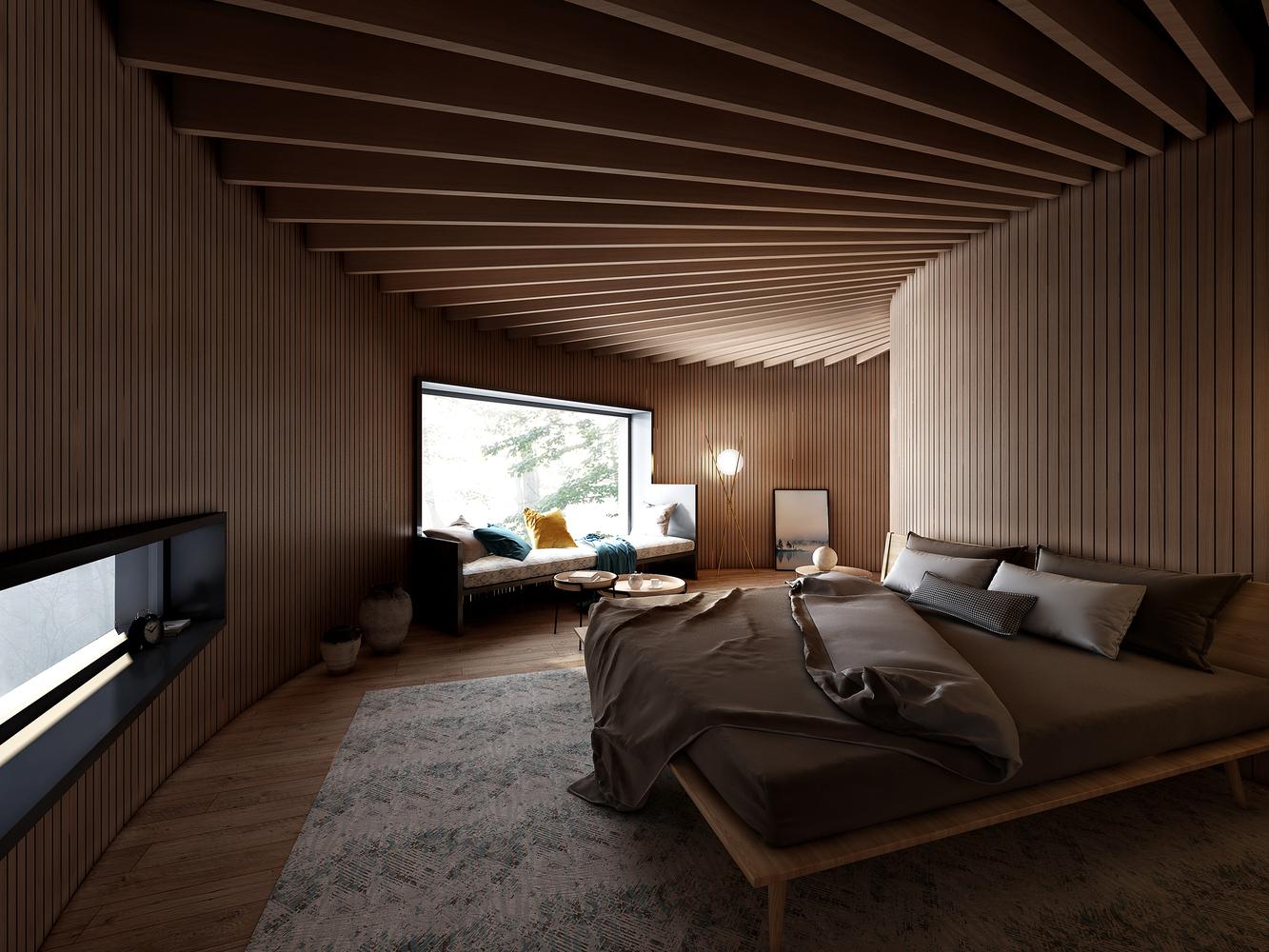 Phần gỗ ở tầng trên gồm 3 vòng tròn không đồng tâm với sân thượng hướng ra con suối cạnh đó, phòng khách và mái uốn lượn.